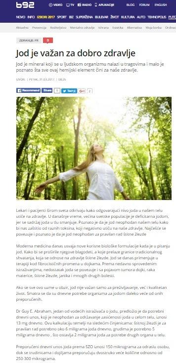 Jod je važan za dobro zdravlje