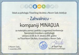 Zahvalnica Minakvi od odseka za psihologiju Filozofskog fakulteta