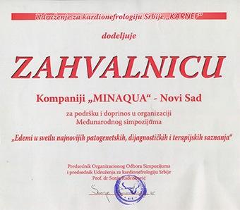 Zahvalnica Minakvi za pruženu podršku u organizaciji medjunarodnog simpozijuma u Nišu