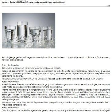 Časa mineralne vode moze spasiti život svakoj ženi