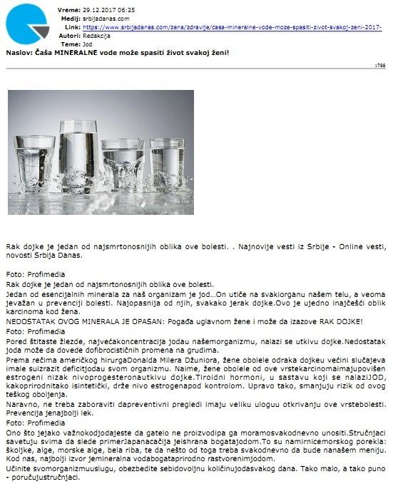 Casa mineralne vode moze spasiti zivot svakoj zeni, Srbijadanas.com 29.12.2017.